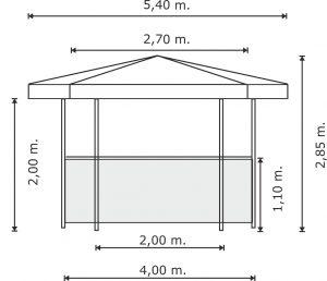 Schema misure chiosco esagonale